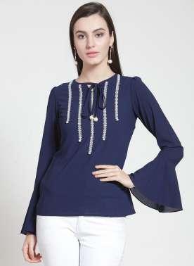 plusS Women Navy Blue Solid Top