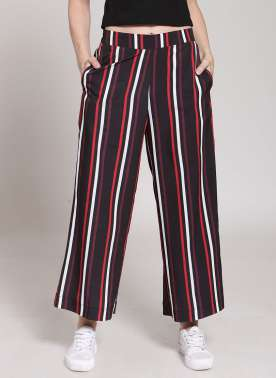 plusS Women Multicoloured Flared Striped Palazzos