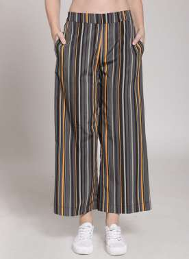 plusS Women Multicoloured Striped Flared Palazzos