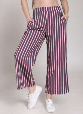 plusS Women Navy & Red Striped Flared Palazzos