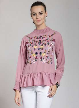 plusS Women Pink Printed A-Line Top