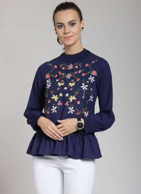 plusS Women Blue Embroidered Peplum Top