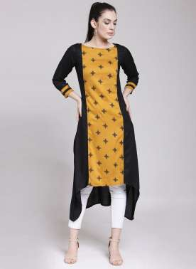 plusS Women Black & Mustard Yellow Printed A-Line Kurta