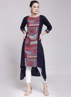 plusS Women Navy Blue & Pink Printed A-Line Kurta