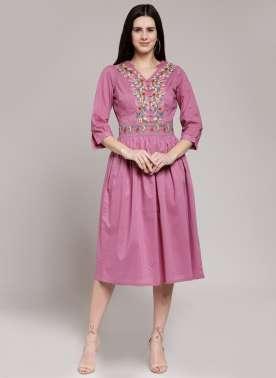 plusS Womens dress with frill sleeve & emb
