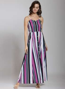 plusS Women Black Striped Maxi Dress