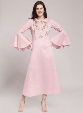 plusS Women Pink Solid Fit and Flare Dress