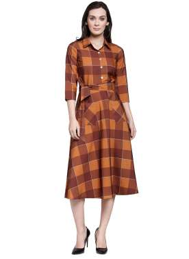 plusS Women Brown Checked Shirt Dress