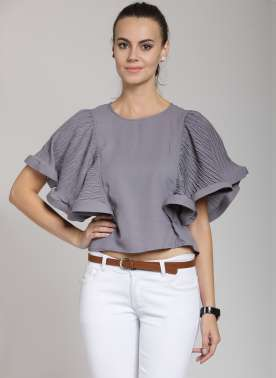 plusS Women Grey Solid Top