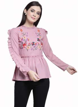 plusS Women Pink Self Design Peplum Top