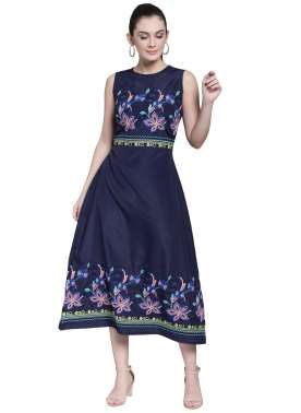 plusS Women Navy Blue Self Design Fit and Flare Dress