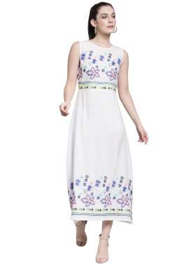 plusS Women White Self Design Fit and Flare Dress
