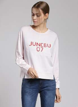 plusS Women Pink Printed Sweatshirt