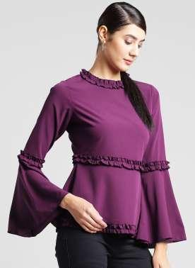 plusS Women Purple Solid A-Line Top