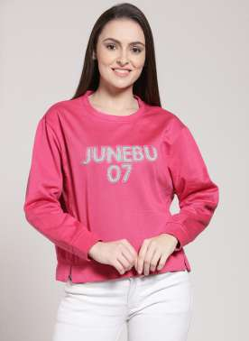 plusS Women Pink Solid Sweatshirt
