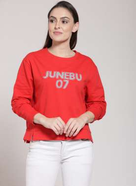 plusS Women Red Solid Sweatshirt
