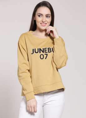 plusS Women Yellow Solid Sweatshirt