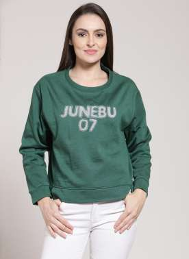 plusS Women Green Solid Sweatshirt