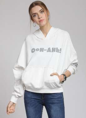 plusS Women Off-White Solid Hooded Sweatshirt
