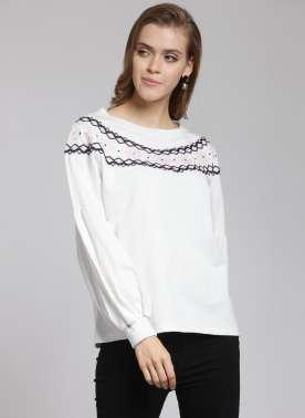 plusS Women White & Black Embroidered Sweatshirt