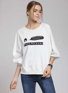 plusS Women Off-White & Black Printed Sweatshirt