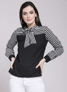 plusS Women Black Striped Top
