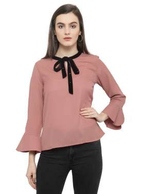 plusS Women Dusty Pink Solid A-Line Top