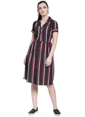 plusS Women Black Striped Shirt Dress