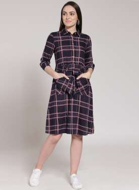 plusS Women Navy Blue Checked Shirt Dress