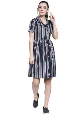plusS Women Navy Blue Striped Fit and Flare Dress
