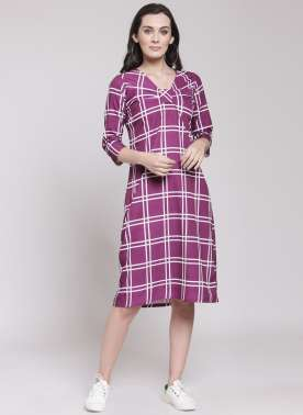 PlusS Womens Dress With Front Knot Design