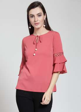 plusS Women Coral Solid Top