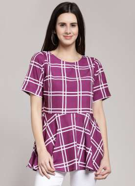 plusS Women Multicoloured Checked Peplum Top