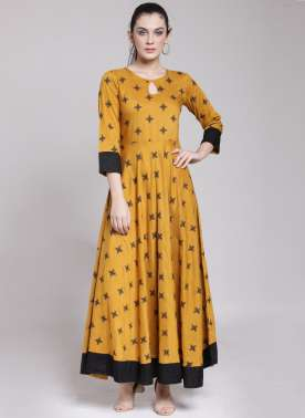 plusS Women Mustard Yellow Printed A-Line Kurta