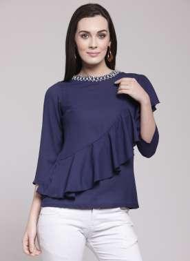 plusS Women Blue Embellished A-Line Top