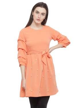 plusS Women Orange Solid A-Line Top