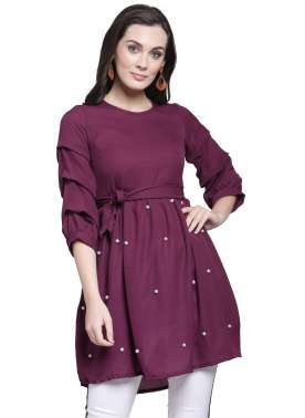 plusS Women Purple Embellished Cinched Waist Top