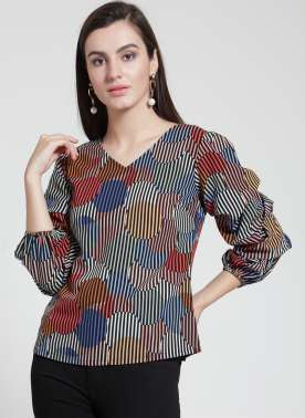 plusS Women Multicoloured Striped A-Line Top