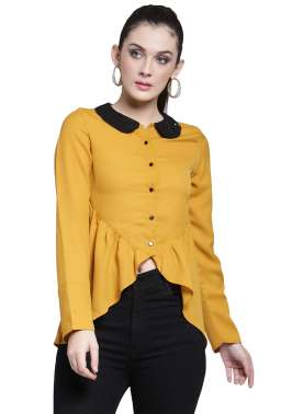 plusS Women Yellow Solid Shirt Style Top