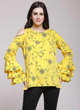 plusS Women Yellow Solid Top