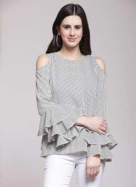 plusS Women White Striped Top