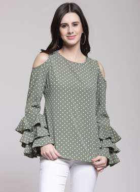 plusS Women Olive Green Printed Top