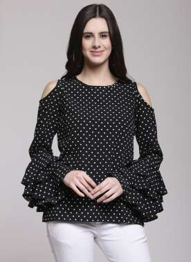 plusS Women Black Printed Top