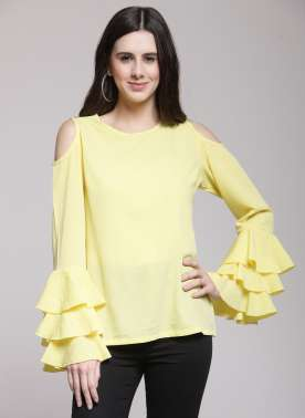 plusS Women Yellow Solid Top