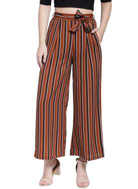 plusS Women Mustard Brown & Black Striped Flared Palazzos