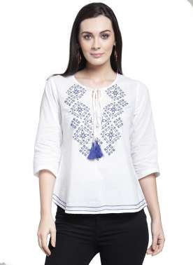 plusS Women White Solid A-Line Top