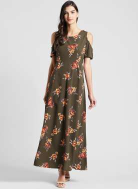 plusS Women Olive Green Floral Print Maxi Dress