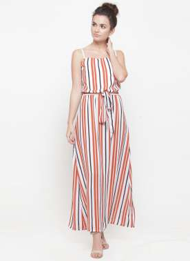 plusS Women White & Orange Striped Maxi Dress