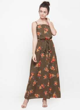 plusS Women Brown Printed Maxi Dress