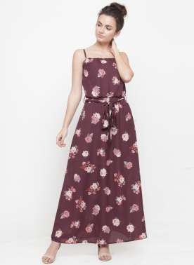 plusS Women Burgundy Printed Maxi Dress